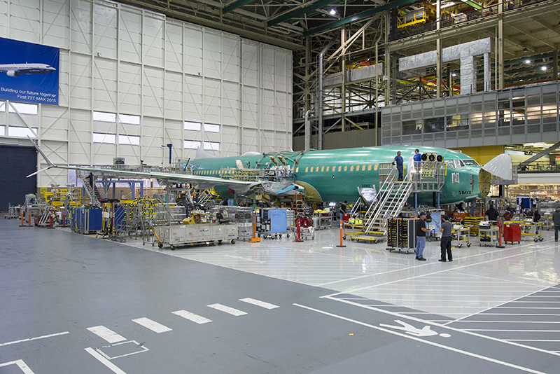 737 Max; Renton Factory; 1st 737 Max on line; view from Right Side; K66444-01