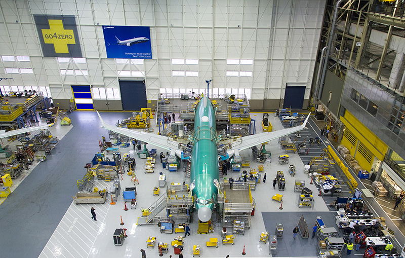 737 Max; Renton Factory; 1st 737 Max on line; Aerial View from Front; K66444-03